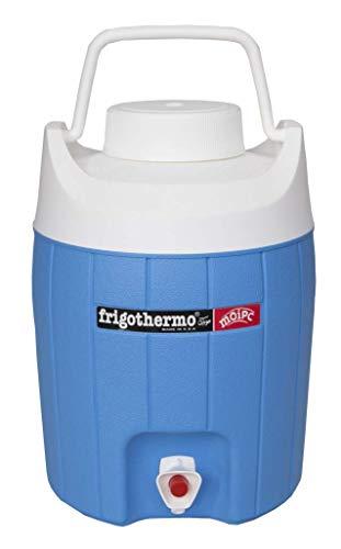 frigothermo Kühlbox mit Zapfhahn Wasserspender 8 Liter klein rund blau weiß passiv Kunststoff mit Becher Tragegriff Schraubdeckel bis 12 Stunden Kühlung Thermo-Behälter Getränkespender Wasserbehälter