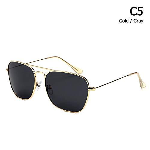 ZHOUYF Sonnenbrille Fahrerbrille Klassische Caravan Stil Polarisierte Quadratische Luftfahrt Sonnenbrille Männer Vintage Retro Brand Design Sonnenbrille Oculos De Sol, E