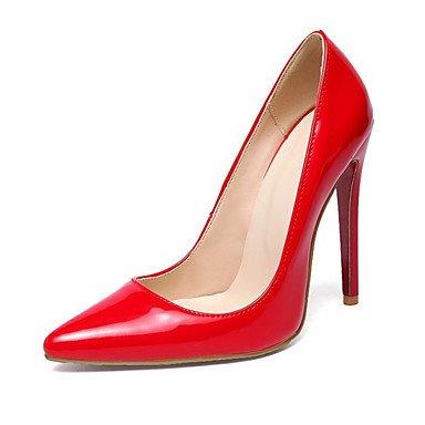 Wuyulunbi@ Scarpe donna pu Primavera Estate Comfort Novità tacchi Stiletto Heel punta per la festa di nozze & Sera mandorla Rosso Nero Rosso
