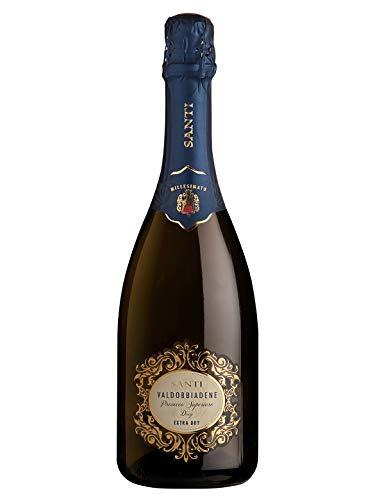 Valdobbiadene prosecco superiore docg extra dry - santi - vino bianco spumante 2018 - bottiglia 750 ml