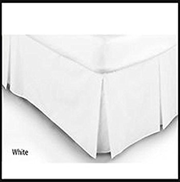 Plain Dyed PolyCotton Platform Base Valence Box Pleated Sheet, Attractive Colors (SINGLE, WHITE)