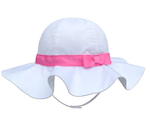 Rosa Kinder-sonnenhut (Pormow Frühjahr / Sommer Baumwolle Baby Mädchen Bowknot SonnenHut /Beach Hut / Outdoor Hut (50cm/2-3y, Rosa))