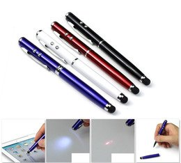 SHOPEE 4 In 1 LED Stylus Laser Pointer Torch Screen Stylus Ballpoint Pen for All Touch Screen Smart Phones (ASSORTED COLOR)  available at amazon for Rs.199