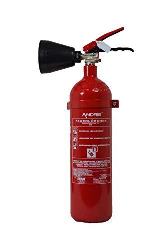 Feuerlöscher 2 kg CO2 Kohlendioxid | EDV geeignet | EN 3 + ANDRIS® Prüfnachweis mit Jahresmarke inkl. ISO-Symbolschild