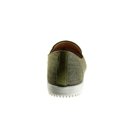 Angkorly - Chaussure Mode Mocassin slip-on femme brodé fantaisie Talon plat 1.5 CM Vert