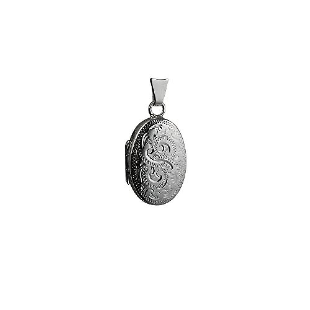 Medaillon oval Sterling Silber mit Verriegelung, 22 x 15 mm, handgestochen.
