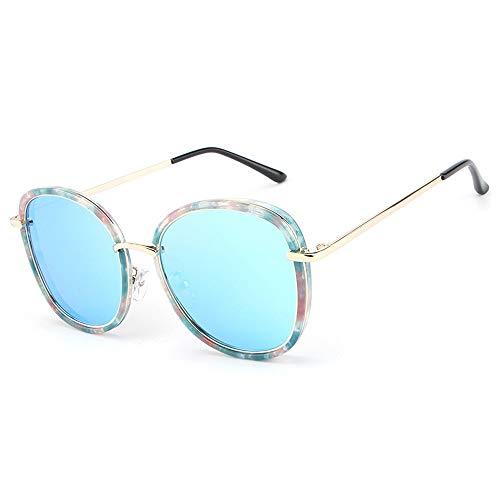 Easy Go Shopping Fashion Classic Bunte Sonnenbrille mit rundem Rahmen UV400 Protection Womens Vintage Sunglasses Sonnenbrillen und Flacher Spiegel (Color : Blau, Size : Kostenlos)