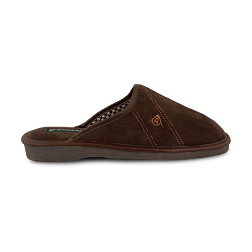 Mens Dunlop Mule Garden Inside Home Pantofole In Tessuto Robusto Suola Scarpe Taglie Nuove Marrone