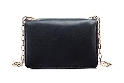 Donna Pelle Lotta A Colori Slot Multi-Card Singola Spalla Crossbody Bag. Black