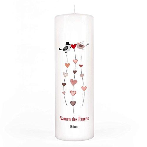 Herz & Heim® Kerze Stumpenkerze zur Hochzeit mit Gratis Aufdruck der Namen und Datum 250/80mm Brenndauer ca. 120 h