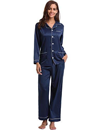 Abollria Satin Pyjama Damen Nachthemd Lang V-Ausschnitt Zweiteiliges Schlafanzüge Frauen Hosen Hausanzug Sleepwear Klassische Loungewear Seide Sleepwear Set