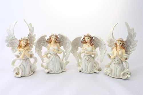 Kunstharz Weihnachten Engel 3-dimensionale Form sitzender Engel creme???Set von 4