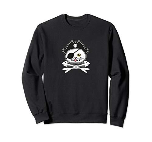 Katze Kostüm Piraten - Süße Piraten Augenklappe Katze Einfaches Halloween Kostüm Sweatshirt