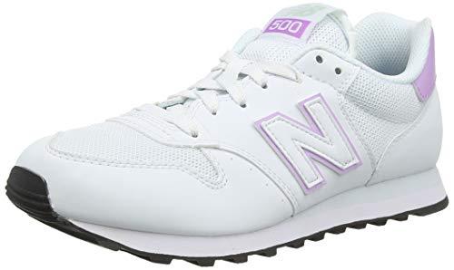New Balance Damen 500 Sneaker, Weiß (Munsell White/Dark Violet Glo/Platinum Sky Swv), 37.5 EU