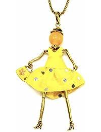 da986eddd441 Oh My Shop SP346 - Sautoir Collier Pendentif Poupée Articulée Femme Robe  Simili Cuir et Jupe