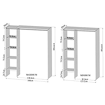 Amazon Brand -Movian Arga Space-Saving Wardrobe with Adjustable Shelves, 123/160 x 50 x 182  cm, White with Taupe Curtain