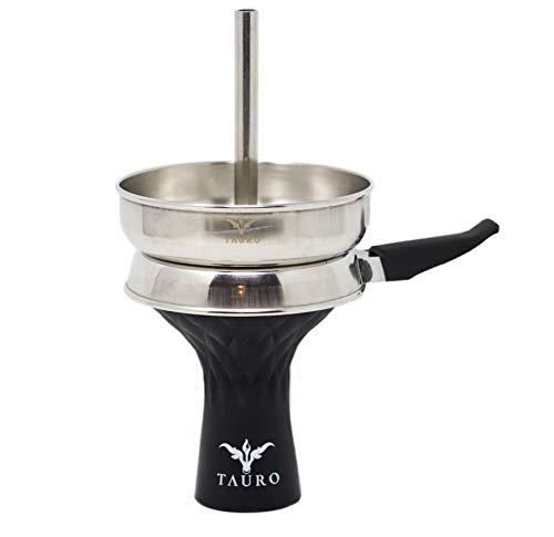 Tauro - Silikonkopf, hochwertiger Shishakopf, Tabakaufsatz für Wasserpfeifen, leicht zu reinigen (Silikonkopf mit Kaminaufsatz, Schwarz)