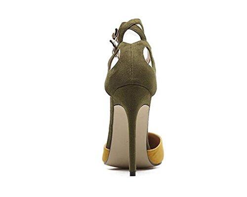 Beauqueen Pumps Wildleder Spitz-Zehen Stiletto High Heel Schöne Gürtel Limited Edition Feminine Party Schuhe EU Größe 35-40 Yellow