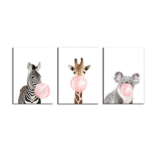 La Vie 3 Teilig Wandbild Kein Rahmen Süße Zebra Giraffe Koala mit Kaugummi Ölbild Leinwanddrucke Bilder Gemälde Moderne Kunstdruck für Zuhause Wohnzimmer Schlafzimmer Kinderzimmer