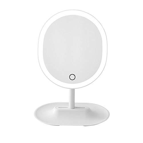 RXM Beleuchteter Make-up-Spiegel-LED-Noten-Tabelle 5-facher Vergrößerung Desktop-Fill Light Weihnachtsgeschenk Hostel USB-Lade 11.8x8.3in (Color : White)