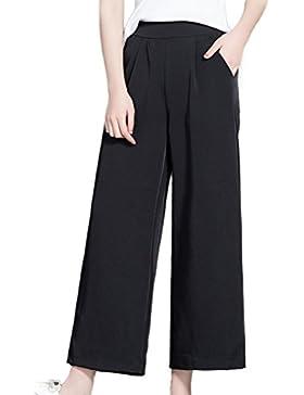 Las Mujeres De Cintura Alta De Verano Casual Pantalones Pantalones De Pierna Ancha Tobillo