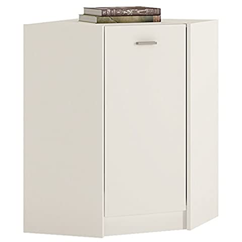 Furniture To Go 4 YOU Corner Cabinet with Melamine, 61 x 86 x 61 cm, Pearl White