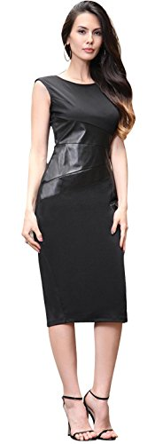 Jeansian Femme Sexy Parti Cocktail Fashion Temperament Slim Fit Crayon Robes WKD227 Black