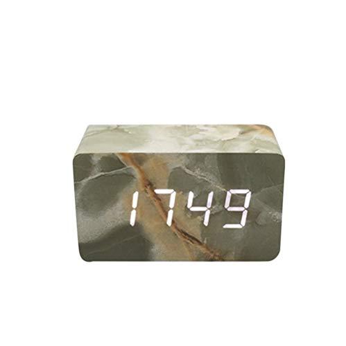SOMESUN Quader Tragbare Holz Marmor Kopfzeile Wecker Sprachsteuerung Kalender Led Thermometer Praktische Digitalanzeige Dekoration Wecker