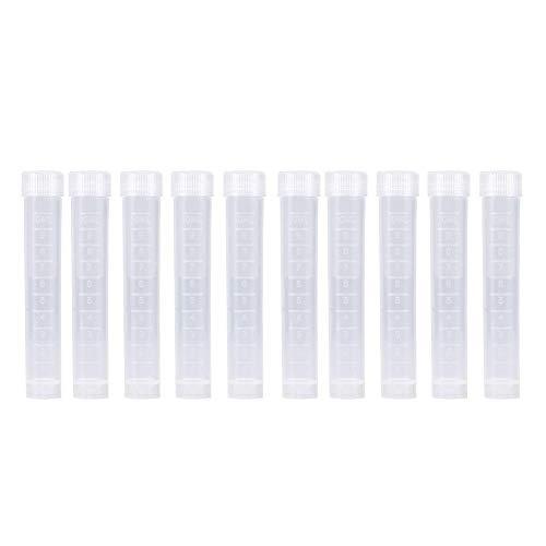 10 piezas de plástico 10ML Tubos de ensayo con tapas, muestra congelada envase Vial for los laboratorios de la escuela