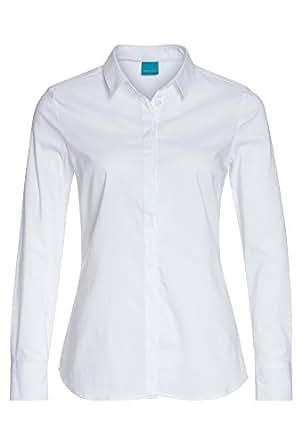 Cool Code Klassische Bluse - Damen Damen-Bluse,Bluse,Hemdbluse,Weiße Bluse, Weiß,44