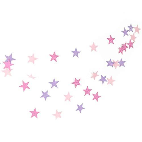 Arichtop 4m Stern-Herz-Papiergirlande DIY Banner Hochzeit Geburtstag Party-Baby-Dusche Kinderzimmer Heim Hängedeko