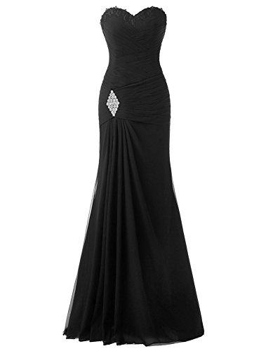 LaoZan Damen Lang Kleid Partykleider Meerjungfrau Traegerlos Strapless Abendkleid Ballkleid Cocktailkleider Schwarz XL (Strapless Meerjungfrau Kleid)