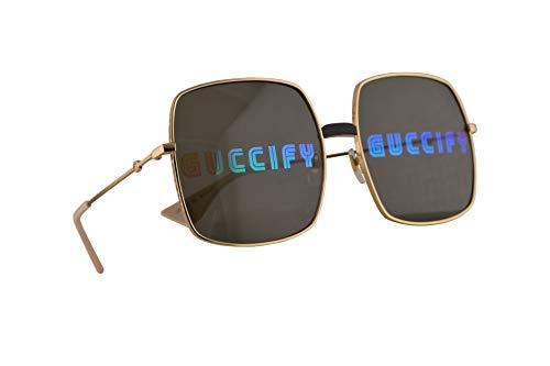 Gucci GG0414S Sonnenbrille Gold Mit Mehrfarbigen Verspiegelten Gläsern 60mm 002 GG0414/S 0414/S GG 0414S