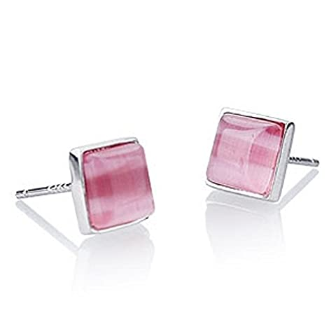 findout 925 sterling silver square opal earrings (f1164) .. size; L0.7cm xW.0.7cm (pink)