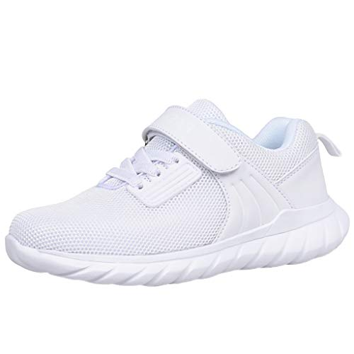 HDUFGJ Kinder Sneaker Sportschuhe Mesh Atmungsaktiv Laufschuhe Outdoor Turnschuhe Klettverschluss Wanderschuhe für Jungen Mädchen28.5 EU(Weiß)