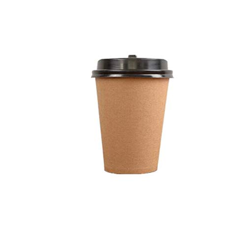 MYXMY 100 Packungen Insulated Kraft Ripple Wall Einweg-Kaffeetassen for Büropartys Home Travel Hot Drink Cups mit gewellten Ärmeln und Deckel (Size : 360ml) - Drink, Hot Bio