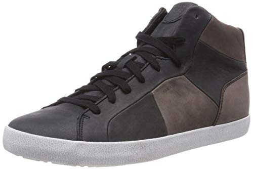 Geox u smart a, sneaker a collo alto uomo, nero (black/coffee c0630), 45 eu