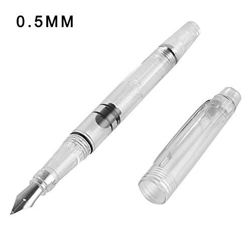 Huangthrostore wing cantata trasparente classico stilo penne, trasparente pistone penna stilografica trasparente inchiostro penna ef f pennini extra fine grande capacità scrittura - argento, 0.5mm