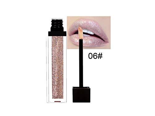 Pinceau Exfoliant Pearl Shimmer Métallique Brillant à Lèvres Hydratant Lip-gloss Diamant Perle Luster Lip Stick Imperméable à l'eau Non-stick Lip-gloss (6#) Brosse à récurer pour le corps