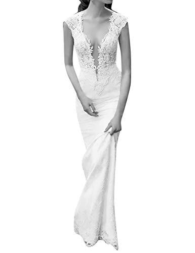 VKStar Schatz Mermaid/Trompete Hochzeitskleid tief V-Ausschnitt Spitze Tüll Brautkleid...