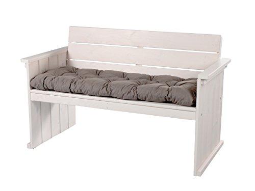 Massivholz 2er Sofa Strandgut Europa MAXI Weiß inkl. Sitzkissen, Loungesofa, Bank