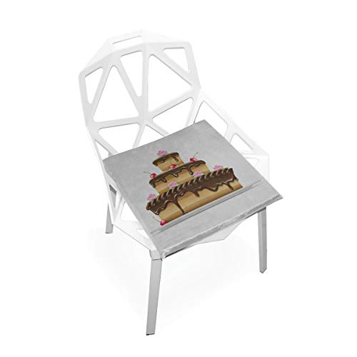 Enhusk Schokoladenkuchen Feier Benutzerdefinierte Weiche rutschfeste Platz Memory Foam Stuhlkissen Kissen Sitz Für Home Küche Esszimmer Büro Schreibtisch Möbel Innen 16x16 Zoll - Körper Zuckerguss