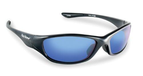 Fliegen Fisherman Cabo Polarisationsbrillen (glänzend schwarz / grau Rahmen, Rauch / blau Spiegel Lenses)