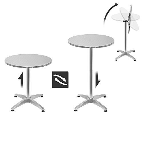 wolketon 2 in 1 Stehtisch Aluminium Bartisch Höhenverstellbar Tische klappbar Beistelltisch Ø60cm H70/110cm Rund Klapptisch stabil Platzsparend verstaubar