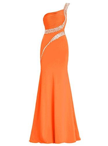 Dresstells Robe de soirée Robe de cérémonie longue une épaule avec paillettes Orange