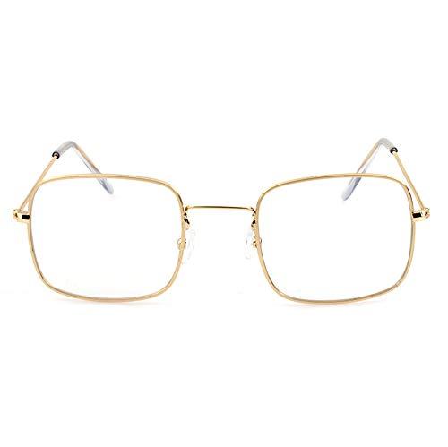 HJL Kleine quadratische Sonnenbrille, Flache transparente Sonnenbrille mit Metallrahmen und Federscharnieren, Sonnenbrille für Männer Frauen Aviator Polarisierter Metallspiegel UV 400 Linsenschutz,C