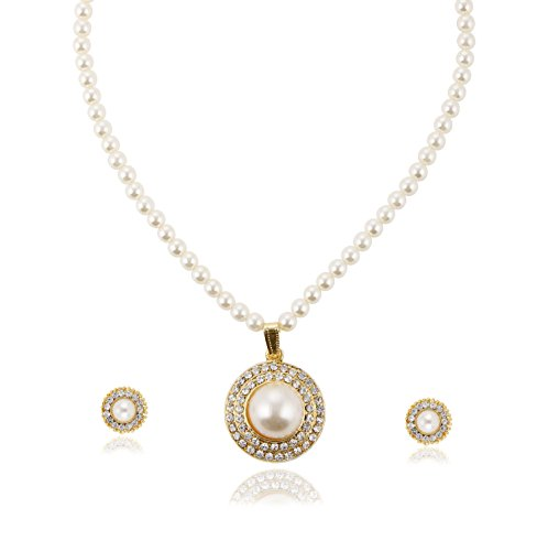Bling N Beads White Pearl Jewellery Set For Women