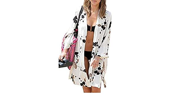 Women Long Sleeve Long Jacket Coat Summer Beach Bikini Cover Up Tops Cardigan