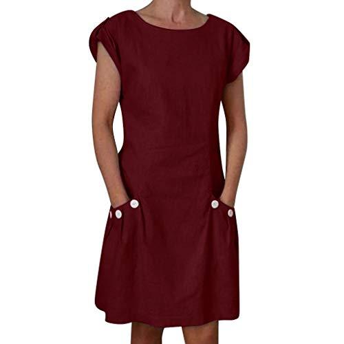 URIBAKY Leinenkleider Damen Sommerkleid Strandkleid,Kleider-Knielang Rock,Elegant T-Shirtkleid Kurzarm Lose Feste gekräuselte Taschen O-Ansatz verschieben -