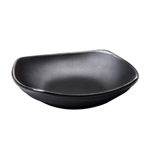 Dapengzhanchi Flache Platte Melamin-Geschirr Nicht-zerbrechliche Snack-Platte Kreativ geformte Kunststoffplatte Innen- und Außenbereich Leicht zu reinigen (Color : Black, Size : 4407)